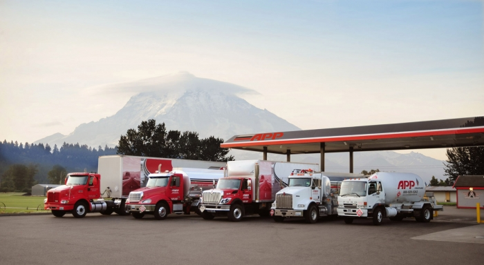 Vehicle fleet wtih Mt. Rainier in background | Associated Petroleum Products | Tacoma, Washington