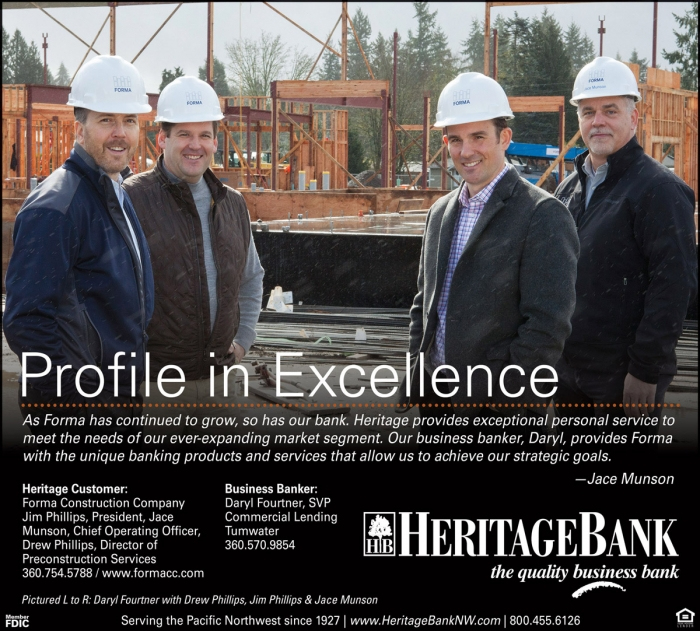 Advertisement with four smiling people | Heritage Bank | Olympia | WA