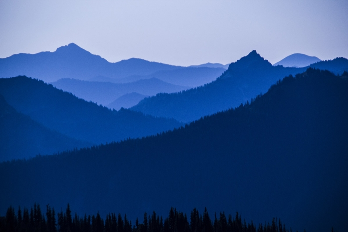 Cascade Mountains, blue in the morning light, from Mt. Rainier National Park, Washington State