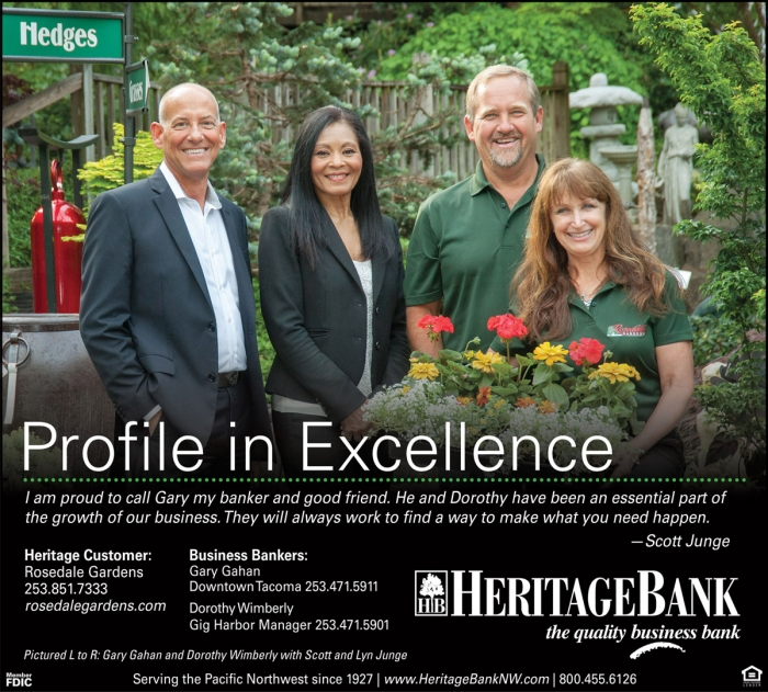Advertisement with four smiling people | Heritage Bank | Gig Harbor, WA